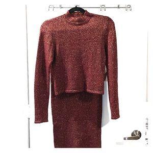 Matching Burgundy & Gold Crop Top and Skirt Set